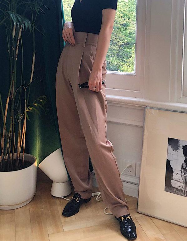 [ FROM ] Camel Silky Haigh Waisted Pants