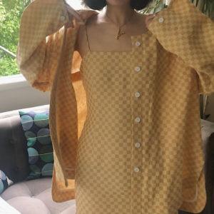 [ FROM ] Mustard Gingham Shirt Jacket