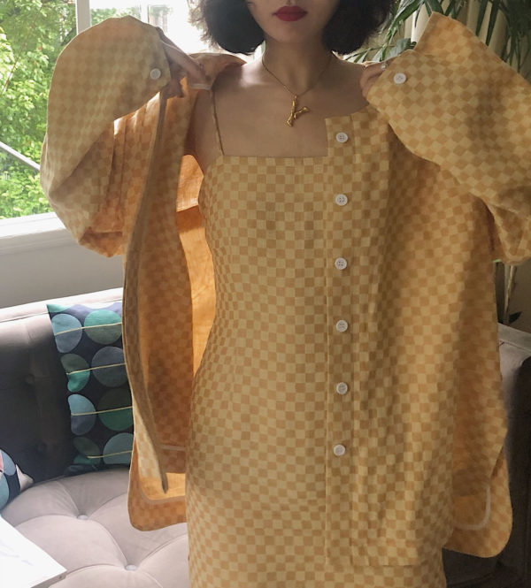 [ FROM ] Mustard Gingham Shirt Jacket