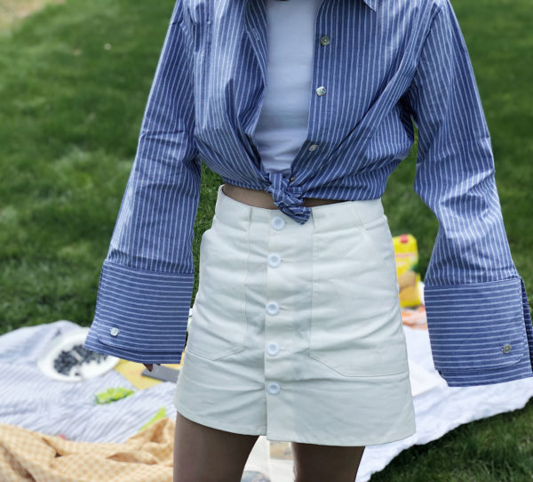 [ FROM ] White Button-Front Mini Skirt