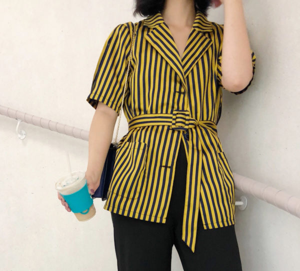 [ FROM ] Striped Belted Shirt