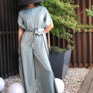 [ FROM ] Green Silky Waist Tie Jumpsuit