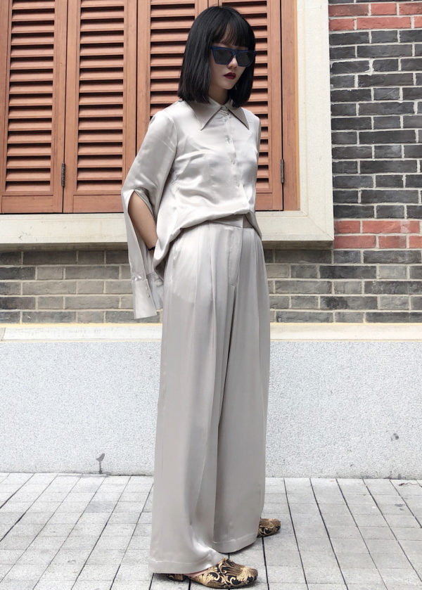 [ FROM ] Silver Silky Wide Leg Trousers