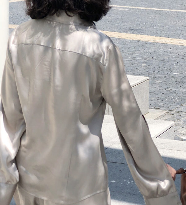 [ FROM ] Silver Silky Shirt