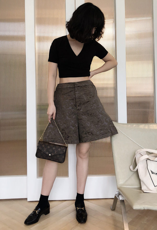 [ FROM ] Dark Green Jacquard Culottes